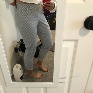 Pinstripe blue and white old navy pants